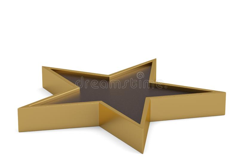 Gold 3D star isolated on white background. 3D illustration.  royalty free illustration
