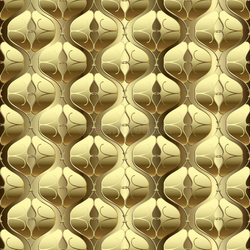 Gold 3d textured arabesque seamless pattern. Arabic style golden surface background. Vector illustration. Ornate gold line art 3d. Ornament. Luxury ornamental vector illustration