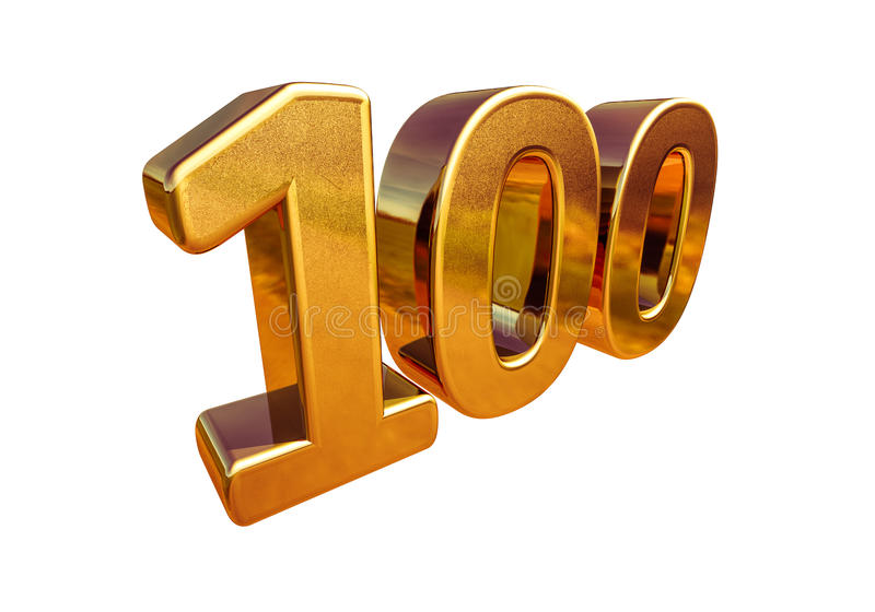 Gold 3d 100th Anniversary Sign Top 100 royalty free illustration