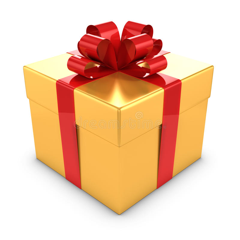 Gold 3d und rote Geschenkbox stock abbildung