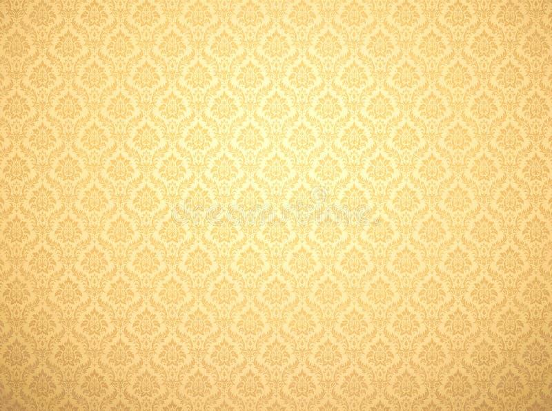 Download Gold Damask Pattern Background Stock Illustration