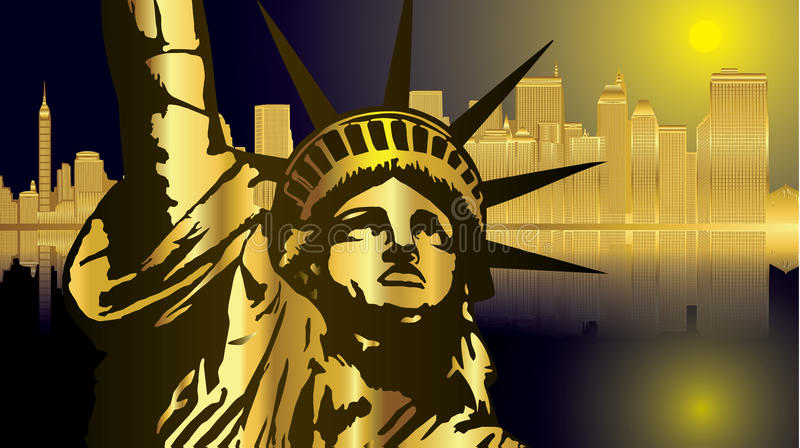 Gold and dark blue New York and statue vector. Gold and dark blue New York and statue USA vector vector illustration