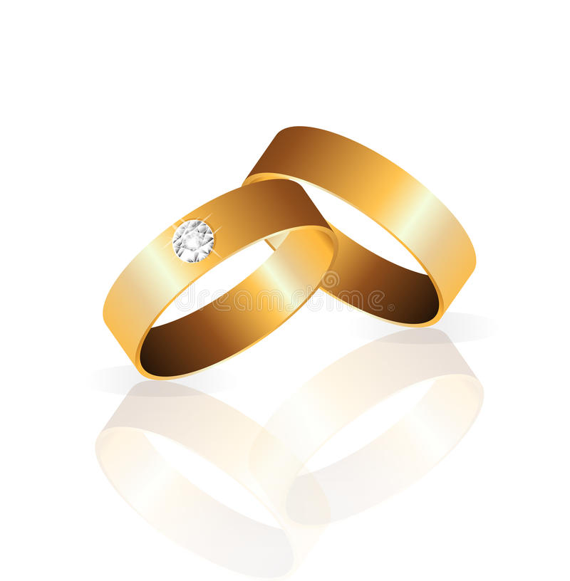 Gold, das Ring 2 mit Diamantvektor heiratet lizenzfreie stockfotografie