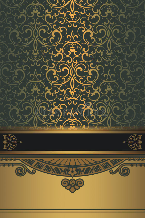 Gold decorative background with elegant border and pattern. stock image