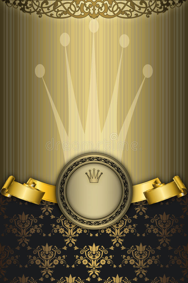 Gold decorative background with frame. stock images