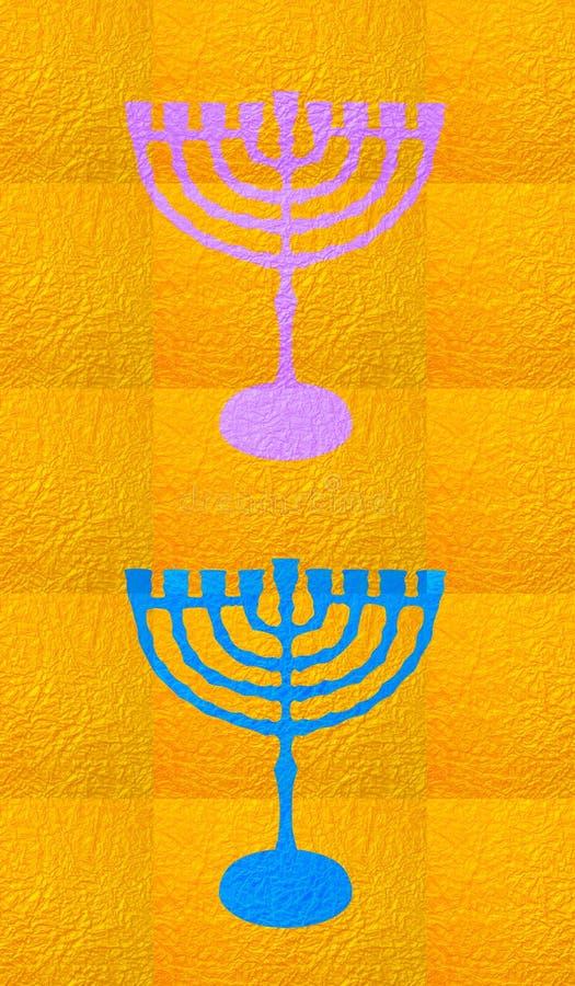 Gold decorative background. Vertical format for Smart phone. Yellow candelabrum, Hanukkah on yellow background. Vertical format for Smart phone. Digital royalty free illustration