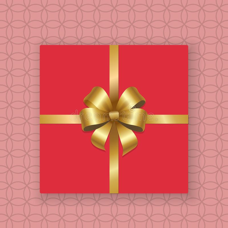 Gold Decorative Bow Top View Gift Present Pink Box stock illustration