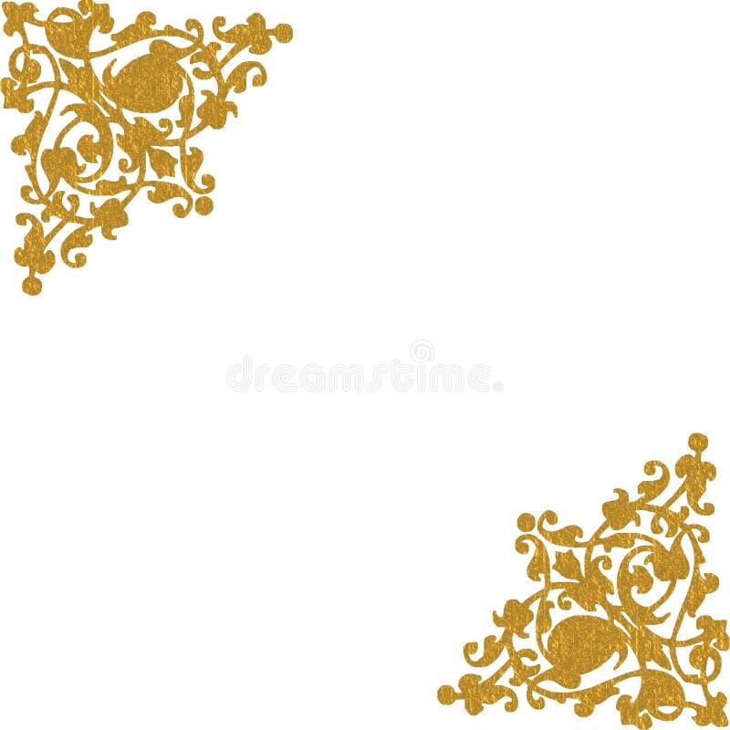 GOLD DECORATIVE CORNERS. Gold decorative floral corners on white background royalty free illustration
