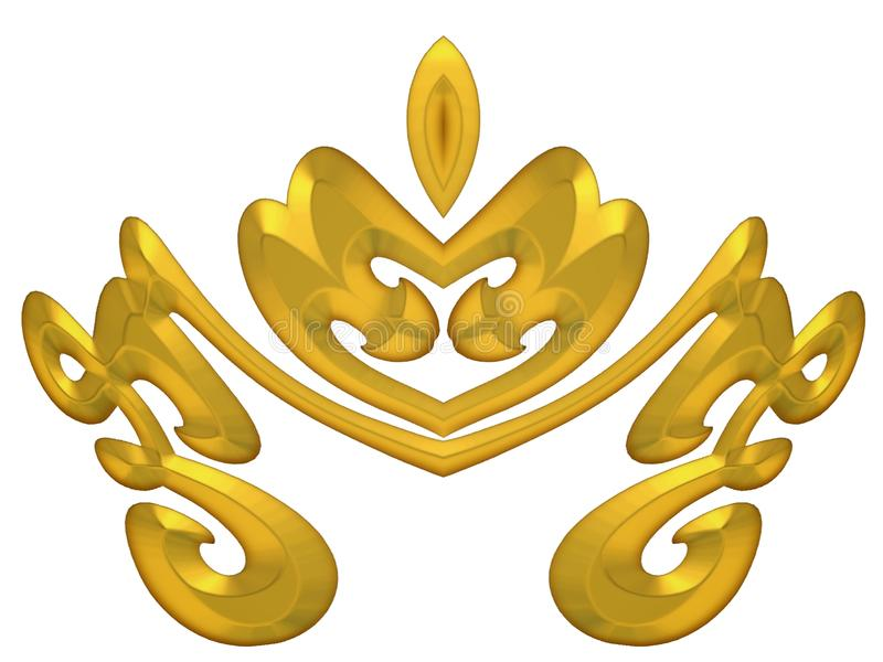 Gold Decorative Crown Design stock image