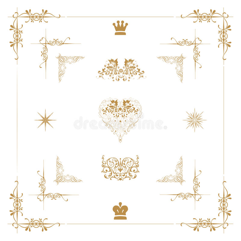 Download Gold decorative elements, stock illustration. Image of graphic - 28369074