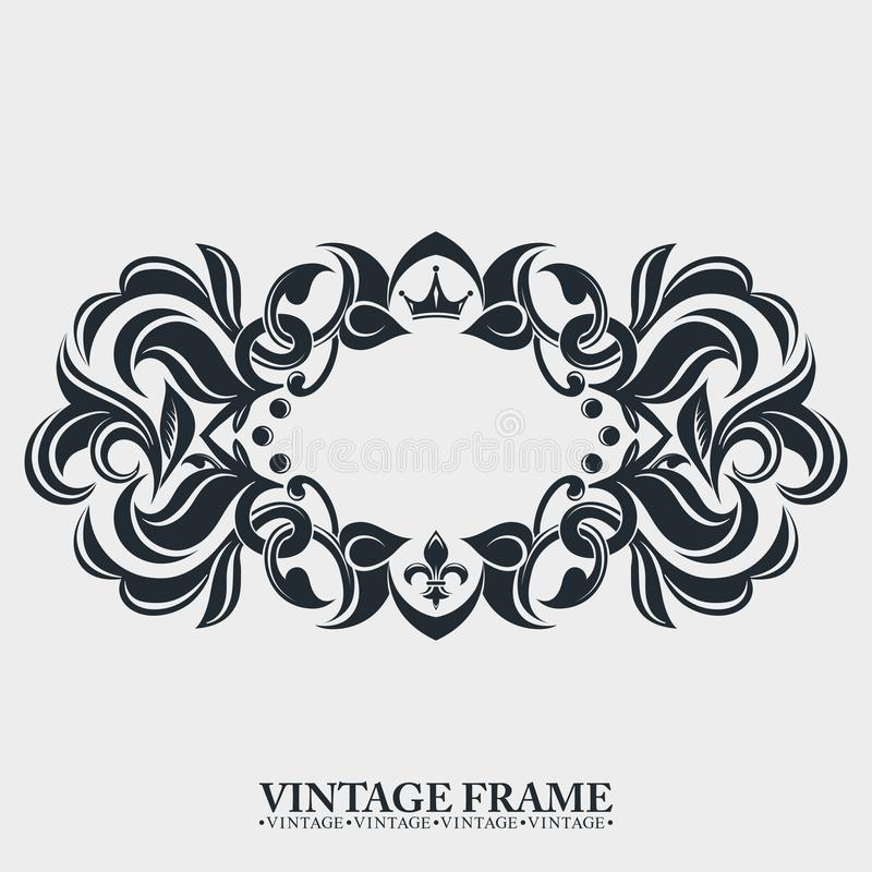 Gold decorative frame. Interwoven vintage ornament. Flowers and leaves. A rich pattern. stock illustration