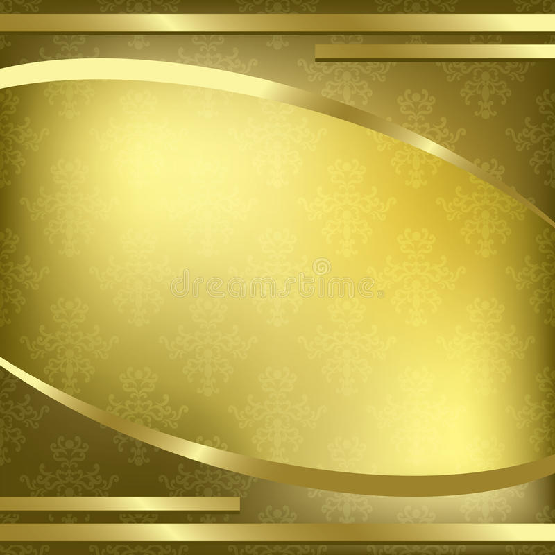 Gold decorative frame with pattern - vector stock illustration