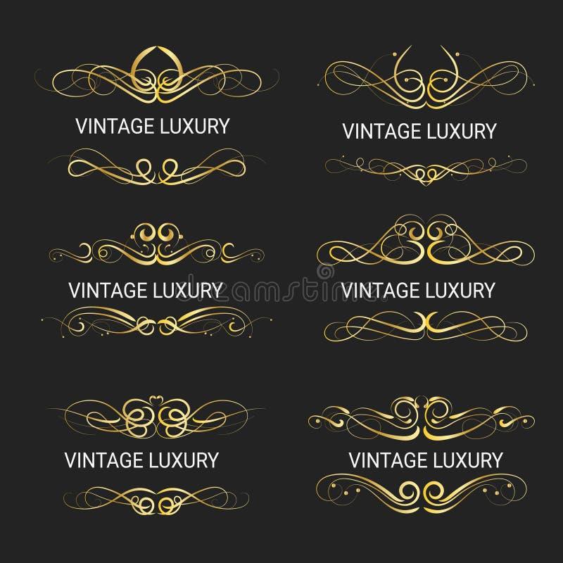 Gold decorative frame.Vintage logo templates Vector. Illustrations royalty free illustration