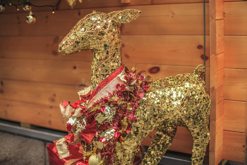 Gold deer the Christmas Decorations.  royalty free stock photos