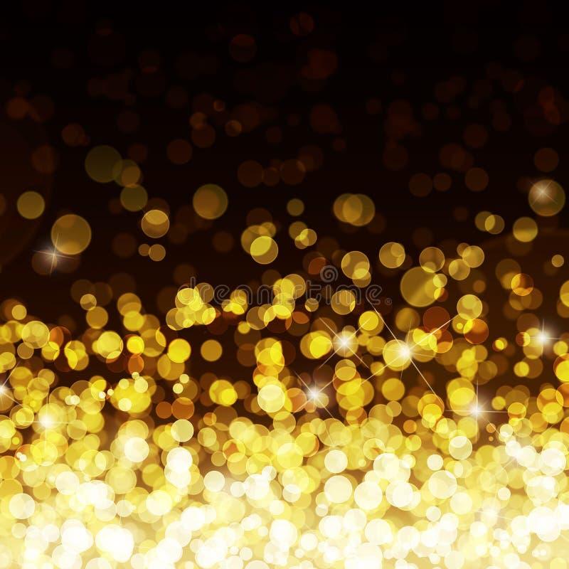 Gold defocused lights background. Illustration of golden glitter bokeh