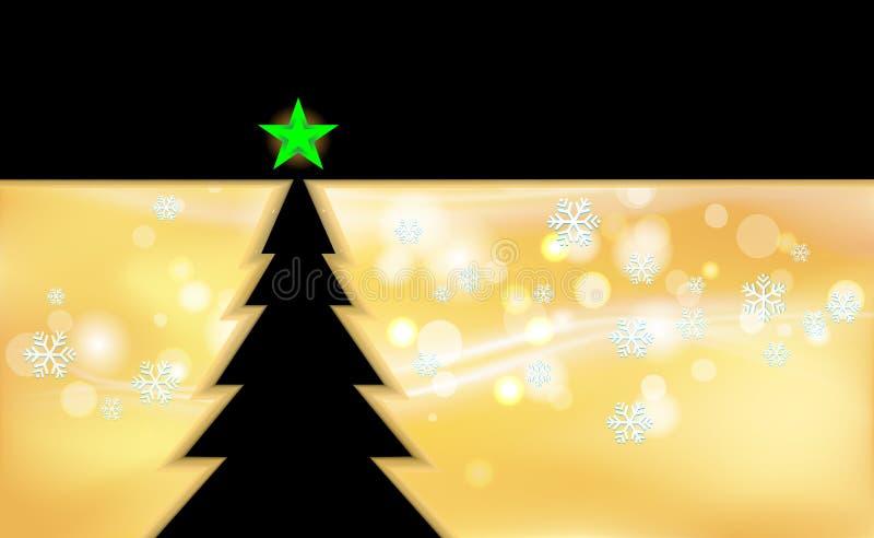 Gold der frohen Weihnachten und schwarzer Farbweinlesehintergrund mit Baum und Verzierungen von den hellen Schneeflocken für neue lizenzfreie abbildung