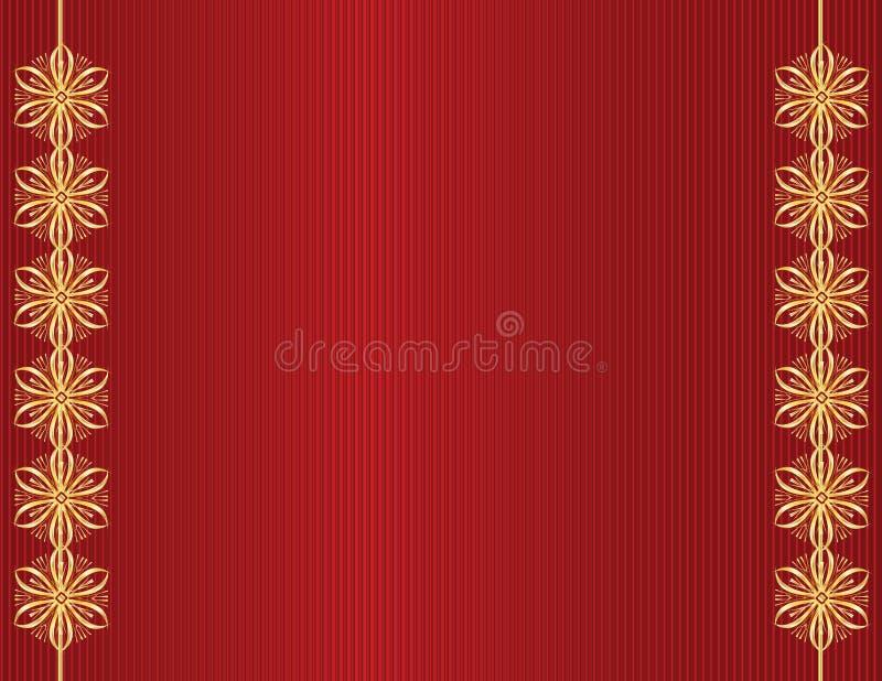 Gold design on red line background stock illustration