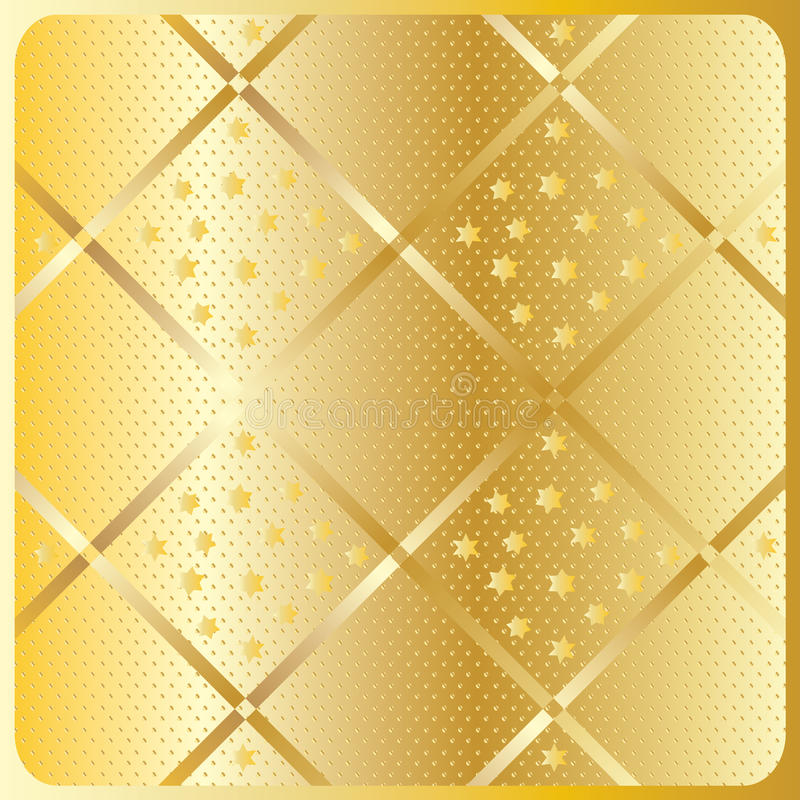 Gold diagonal geometric pattern. Gold diagonal texture pattern. Vector file with layers. Gold diagonal cross stripes with stars on gold background. For art vector illustration