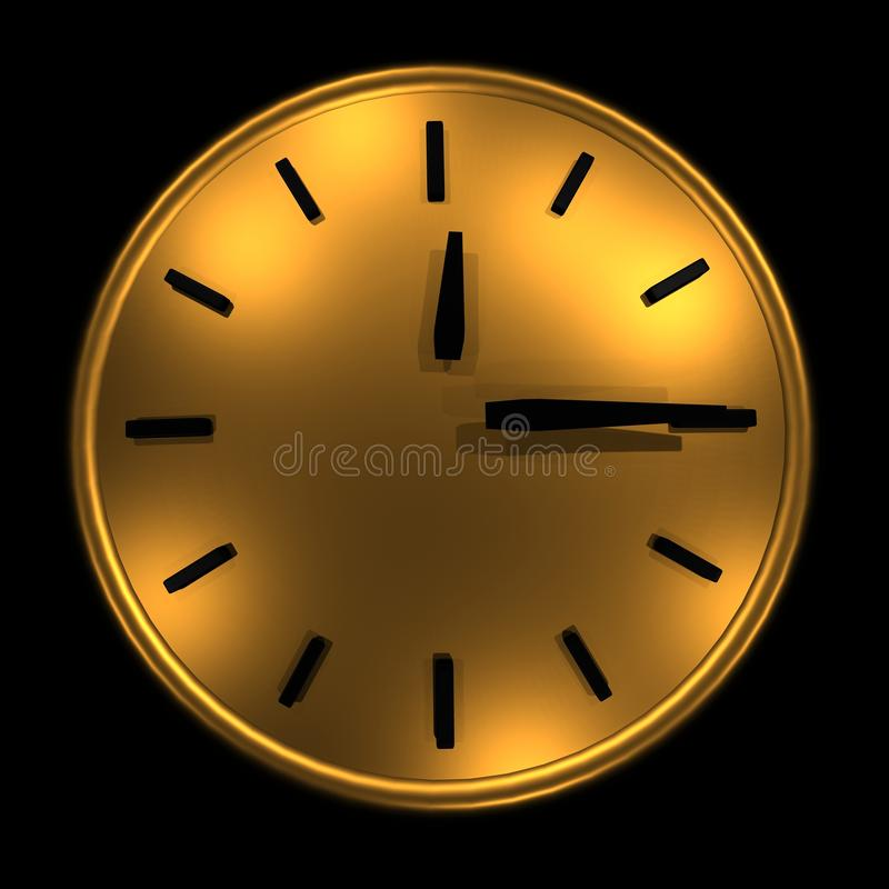 Gold dial on a black background 15 minutes 3D illustration. Gold dial on a black background 15 minutes, 3D illustration royalty free illustration