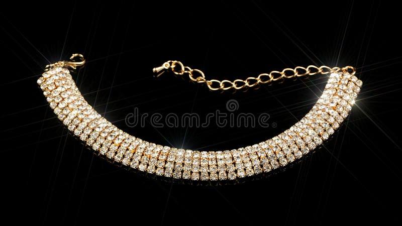 Gold Diamond Bracelet on Black Background. A luxurious gold diamond bracelet against a black background stock image