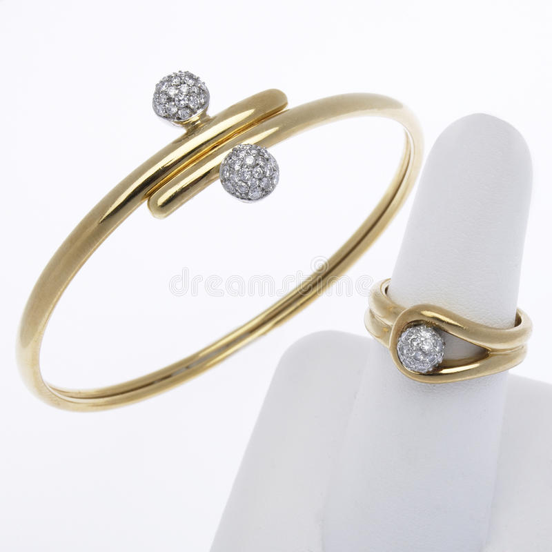 Expensive Gold Bracelet: Gold And Diamond Bracelet And Ring Editorial Stock Image