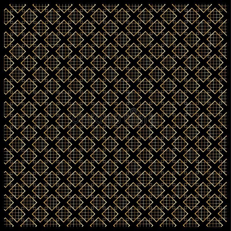 Gold Diamond Checkered pattern on black. Gold Diamond Checkered on black background. Gold Seamless background pattern with diamond shapes and ornament. Vector stock illustration