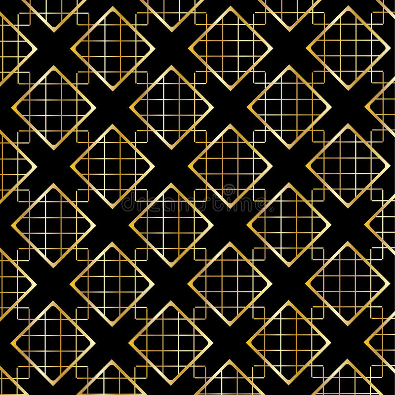 Gold Diamond Checkered pattern on black. Gold Diamond Checkered modern ornament on black background. Gold Seamless background pattern with diamond shapes and royalty free illustration