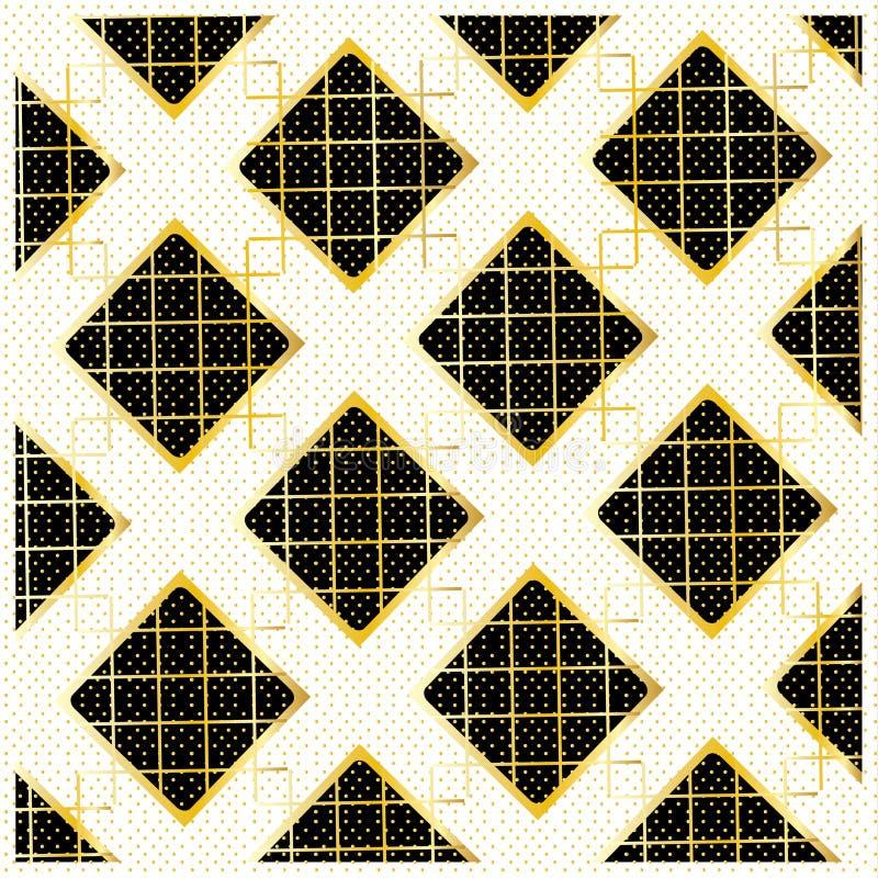 Diamond Checkered pattern. Gold Diamond Checkered modern pattern, black and gold ornament with polka dot background. Gold geometric luxury pattern with diamond royalty free illustration