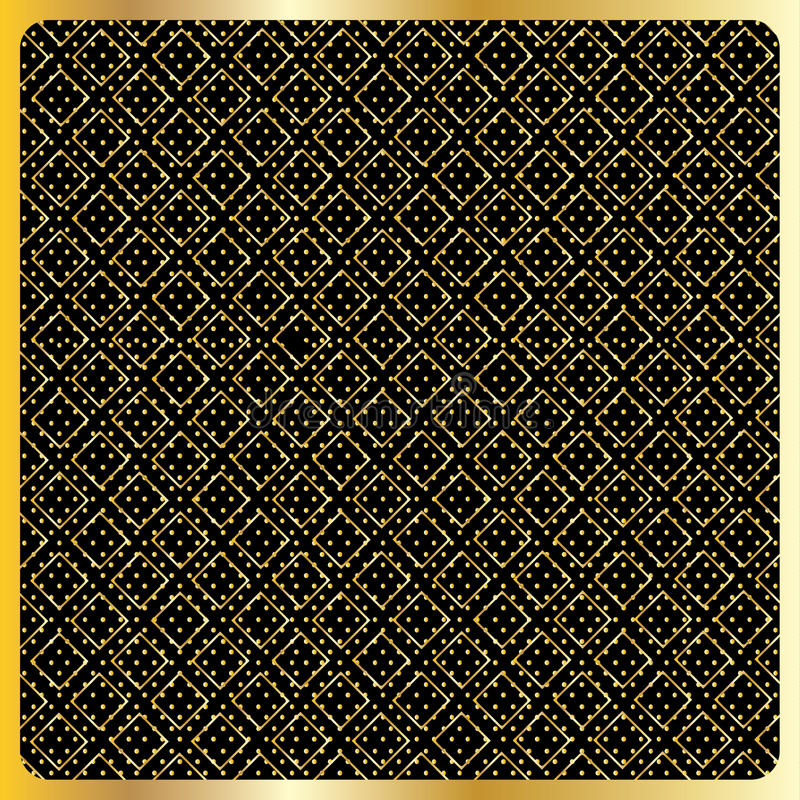 Gold Diamond Checkered pattern Vector. Gold Diamond Checkered modern ornament on gold polka dot and black background. Gold Seamless background pattern with vector illustration