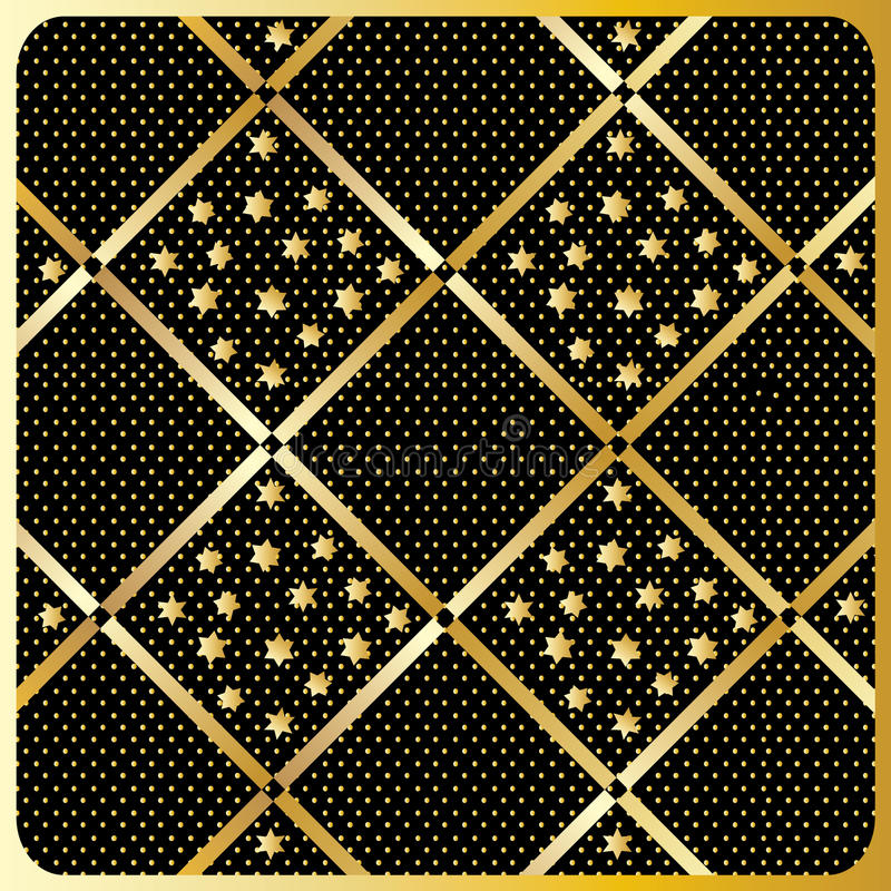 Gold Diamond Checkered pattern Vector. Gold Diamond Checkered ornament with shapes of the stars on black background in the gold polka dots . Gold Seamless royalty free illustration