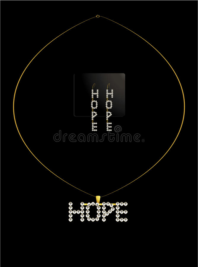 Gold And Diamond Hope Necklace Set Royalty Free Stock Photos