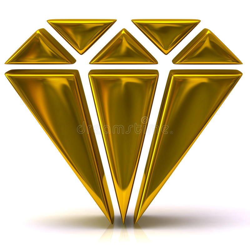 Gold diamond icon stock illustration