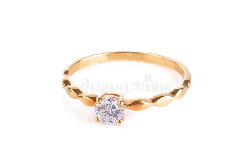Gold diamond ring isolated on white background stock photo