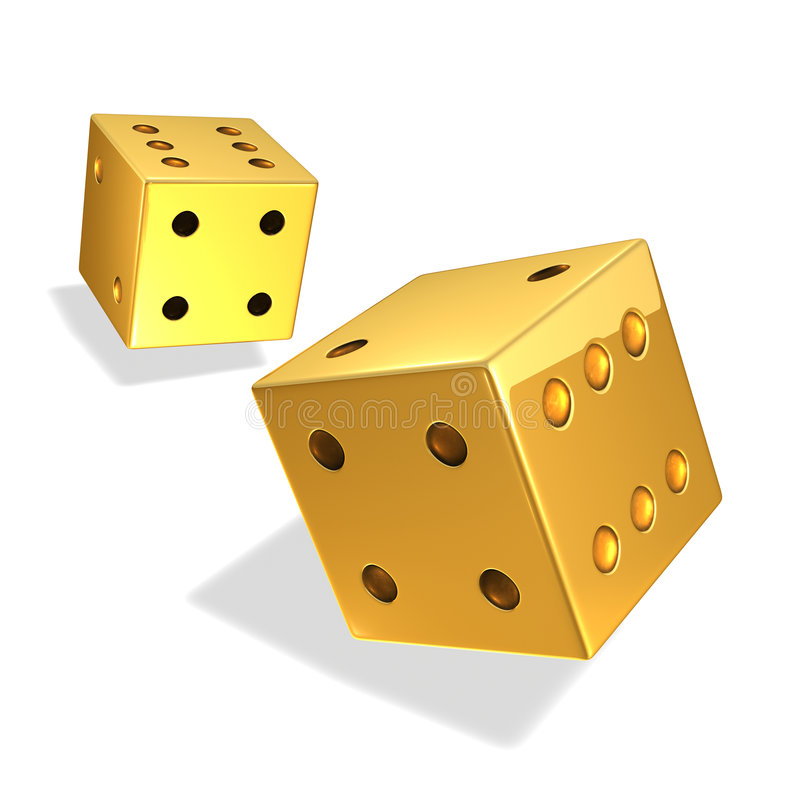 Gold Dice. In motion on white stock illustration
