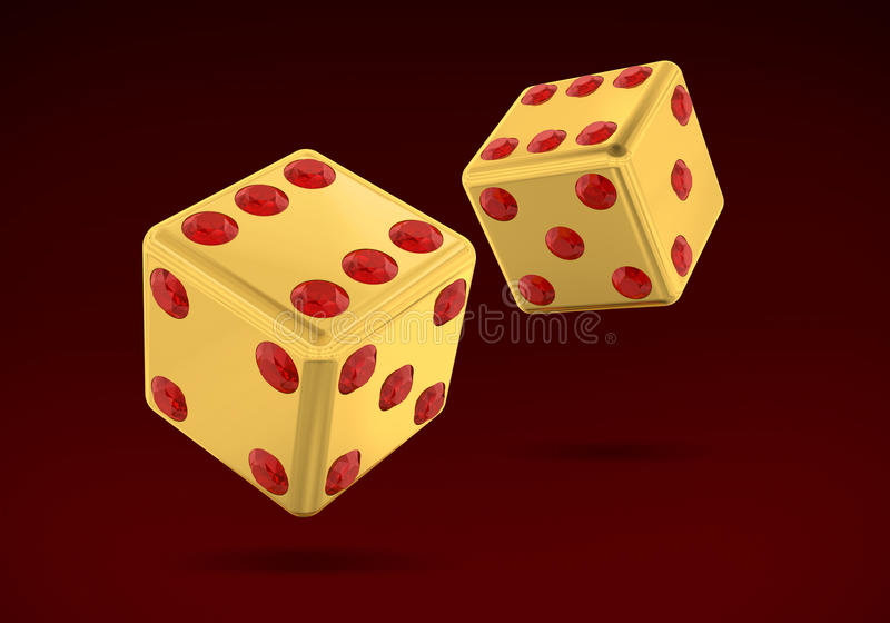 Gold Dice. With Rubis (has clipping path royalty free illustration