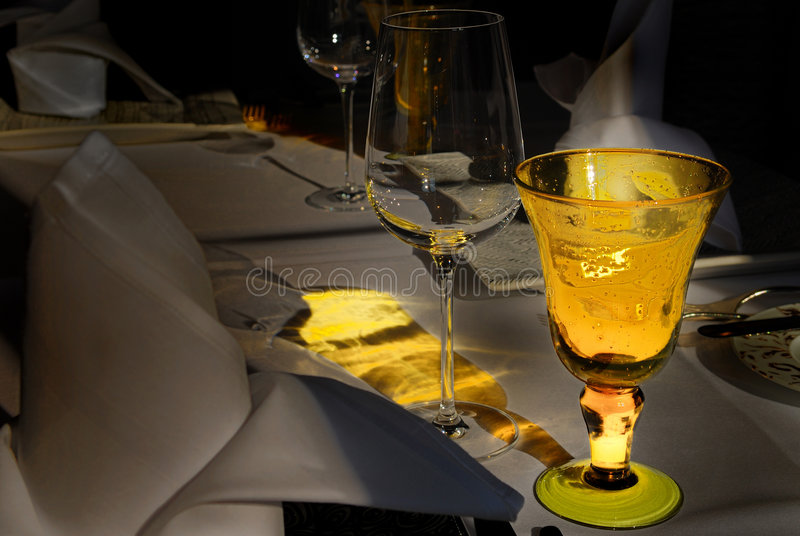 gold dining table set royalty free stock photo