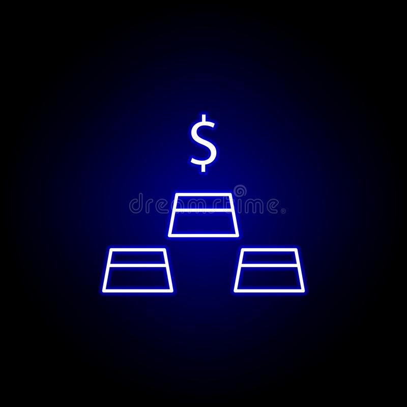 Gold dollar bar icon in neon style. Element of finance illustration. Signs and symbols icon can be used for web, logo, mobile app. UI, UX on black background royalty free illustration