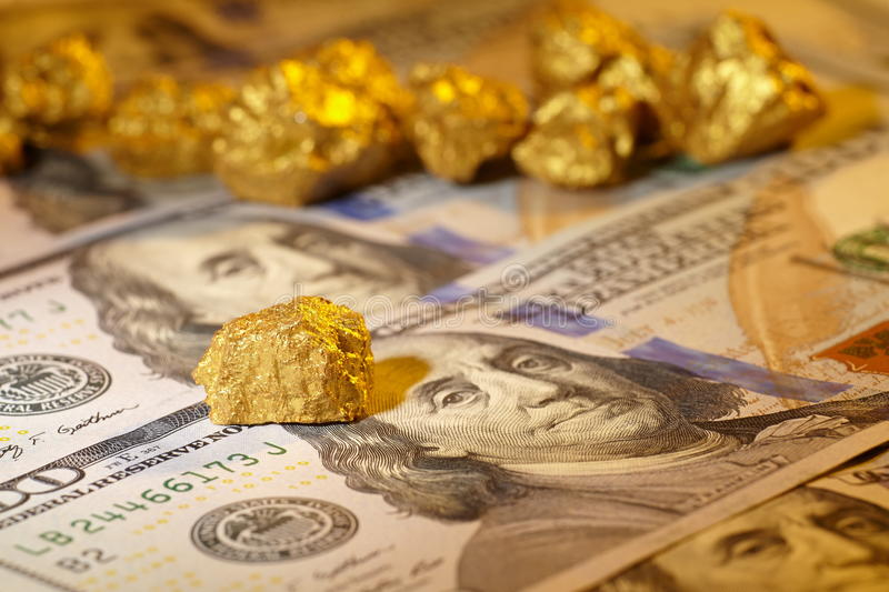 Download Gold and dollar bills stock image. Image of crisis, economy - 39513377