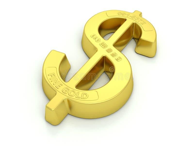 Gold Dollar Bullion. The Dollar symbol made into a gold ingot or bullion with assay marks stock illustration