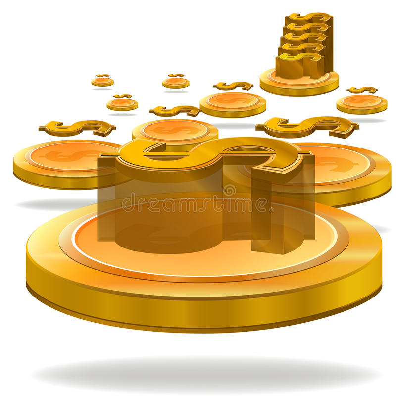 Download Gold Dollar Coin Stock Vector - Image: 41470266