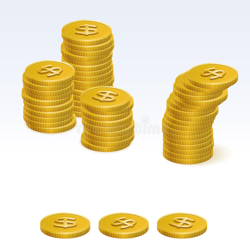 Gold Dollar Coin Stack Vector Icons vector illustration