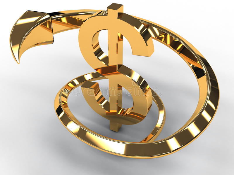 Gold dollar with golden arrow isolated #3 royalty free illustration