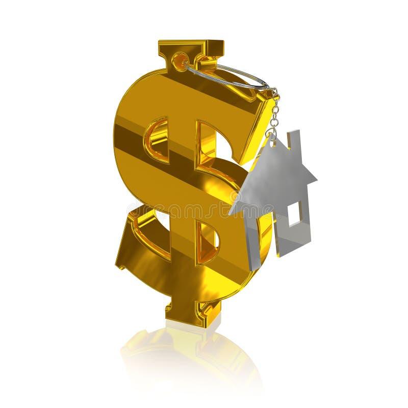 Gold_dollar_home vector illustratie