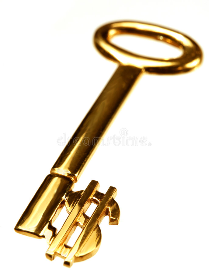 Gold dollar key royalty free stock photos