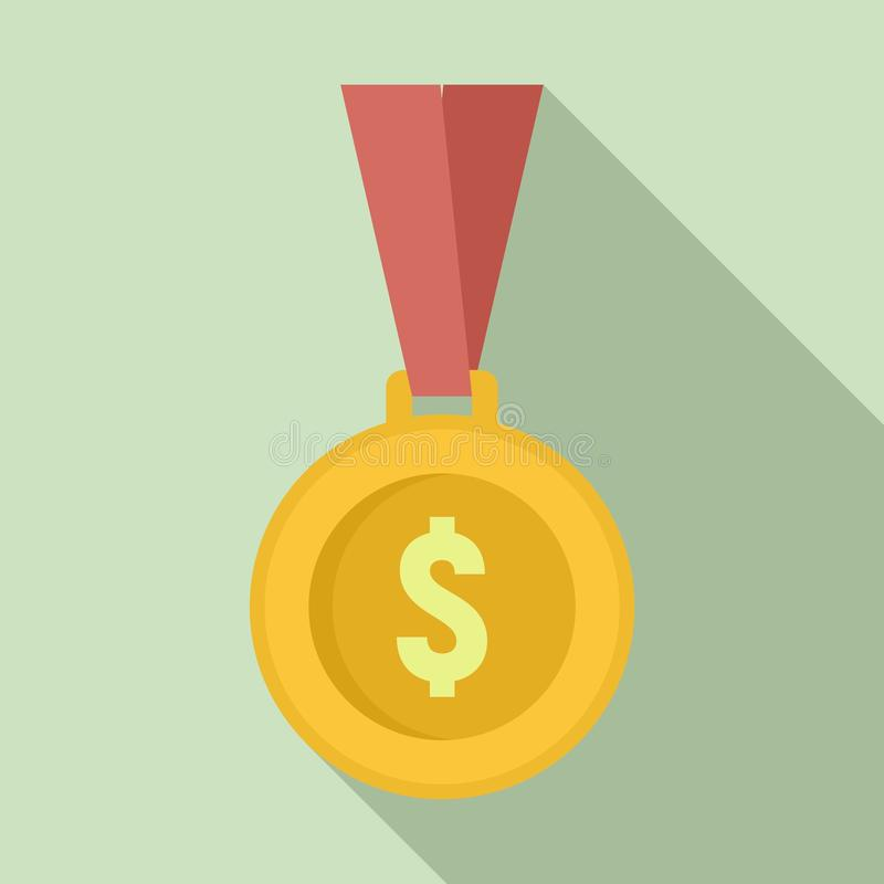 Gold dollar medal icon, flat style vector illustration