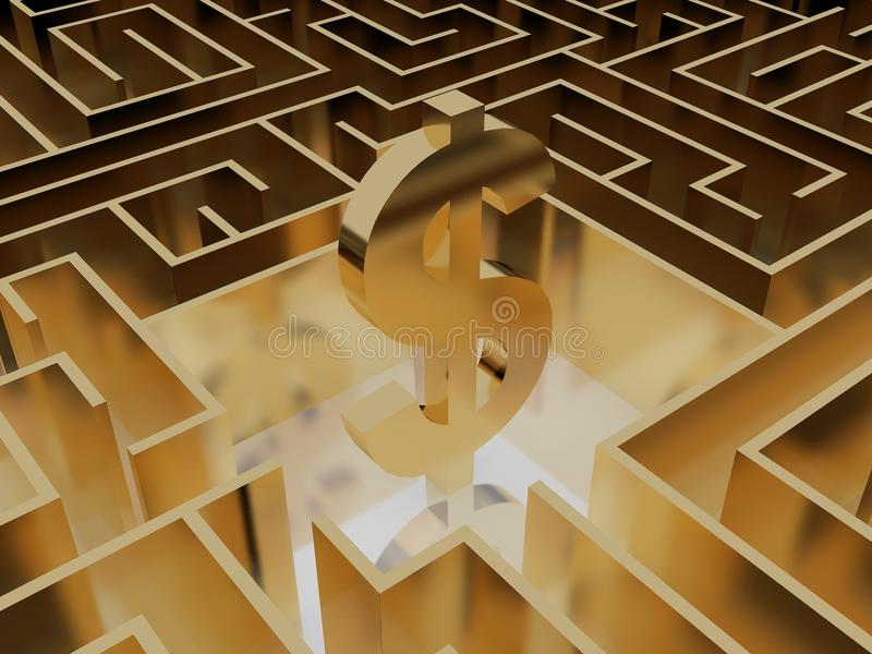 Gold dollar sign in the middle of a mysterious maze stock illustration