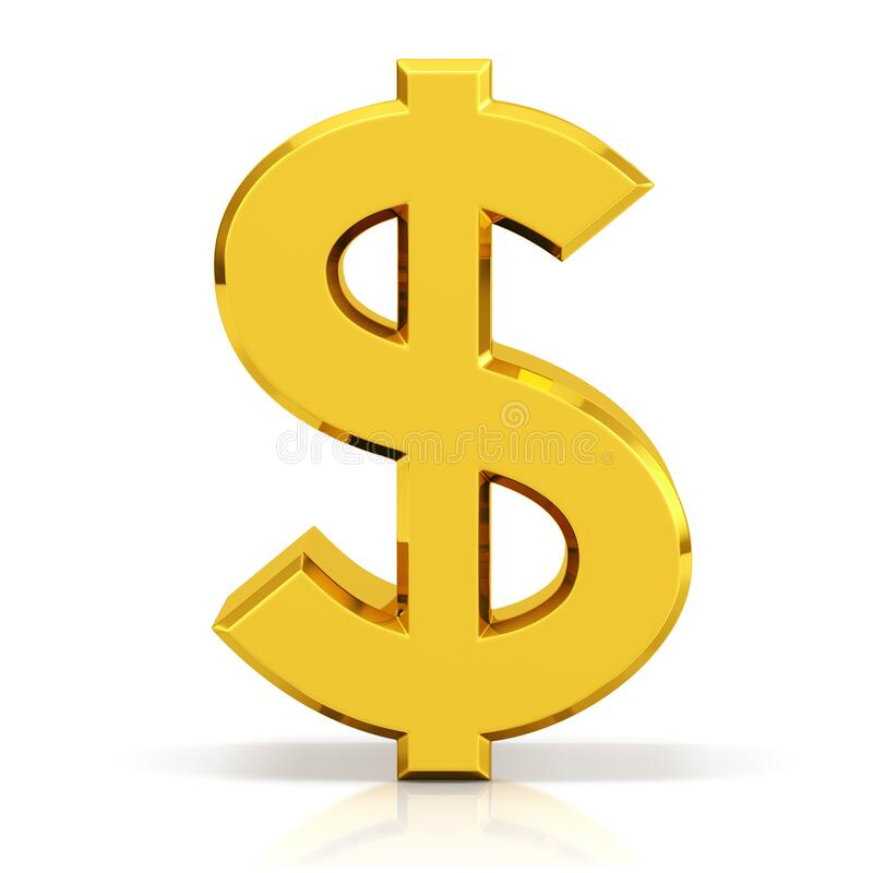 Gold dollar sign. US dollar currency symbol. stock image