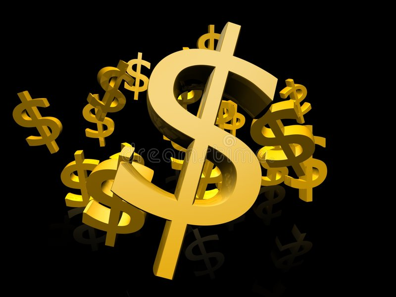 Gold dollar symbol. 3d US currency in gold colors