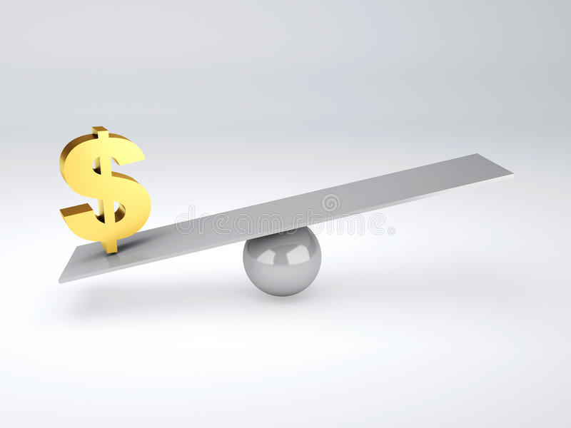 Download Gold Dollar Symbol In White Seesaw Stock Illustration - Image: 41615340
