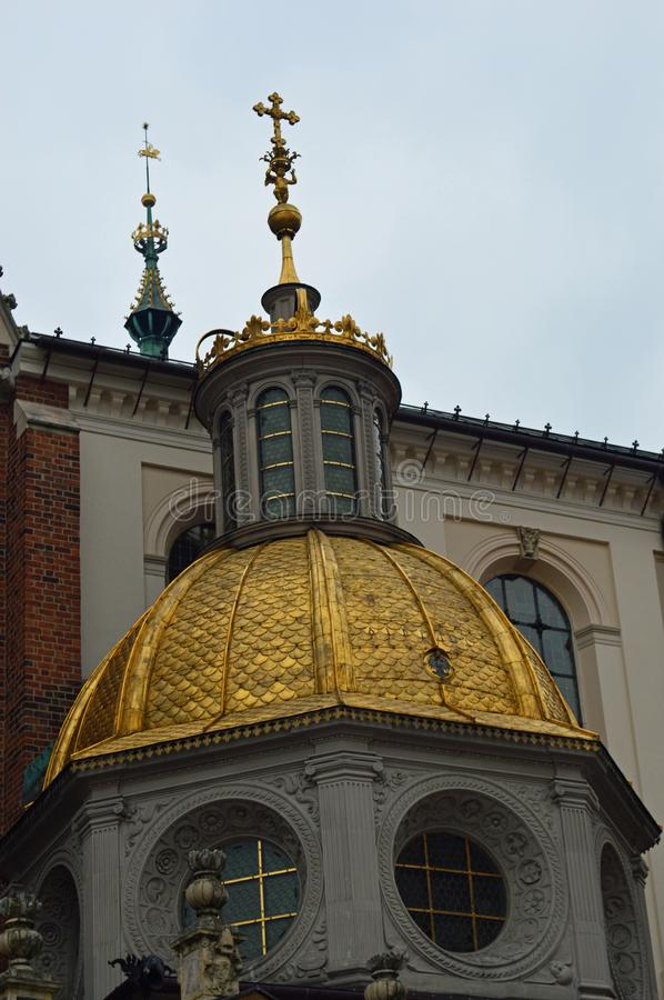 Gold dome detail Detail Wawel Cathedral in the Castle complex at Krakow royalty free stock photo
